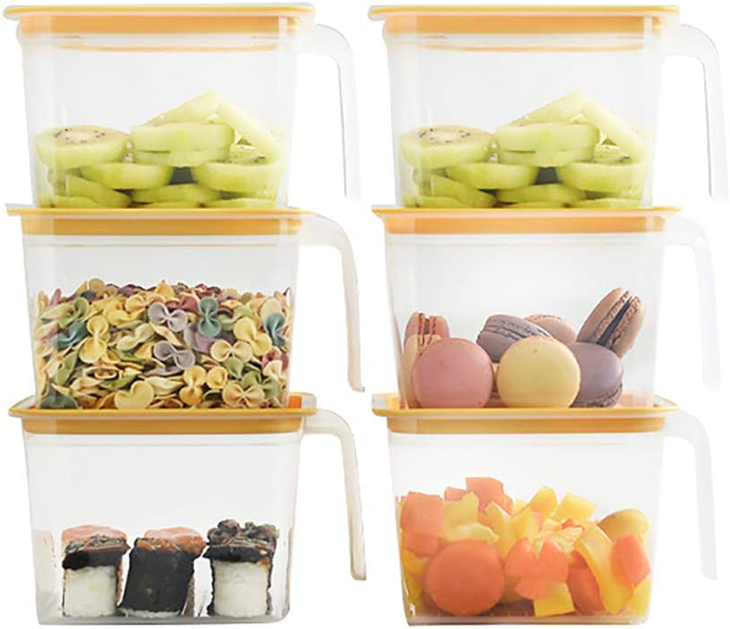 Diamerd Plastic Deli Storage Containers With Lids Freezer Jam Containers Snacks Grains Kitchen Storage Containers 6PCS/BOX 33.8oz/47.4oz Optional (33.8oz)