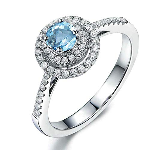 Rings for Her Sterling Silver Rings Round Blue Topaz Custom Engraved Rings for Women Size 4
