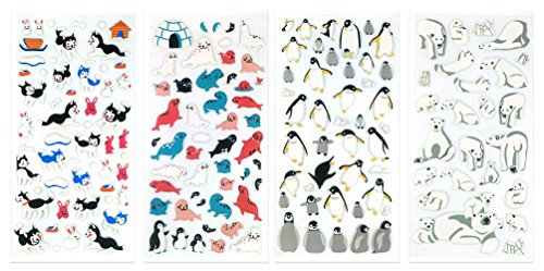 3D-SET049-POLE - 4 Sheets Arctic Wild Life Reusable Puffy Stickers (Polar Bears, Penguin, Seal, Sea Lion, Walrus, Arctic Hare, Siberian Husky etc.) Size 3.75 X 7.5 Inch./sheet