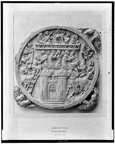 Photo: Photo of Mirror Case, Fourteenth Century, French, Castle of Love, Kissing, Knights . Size: -