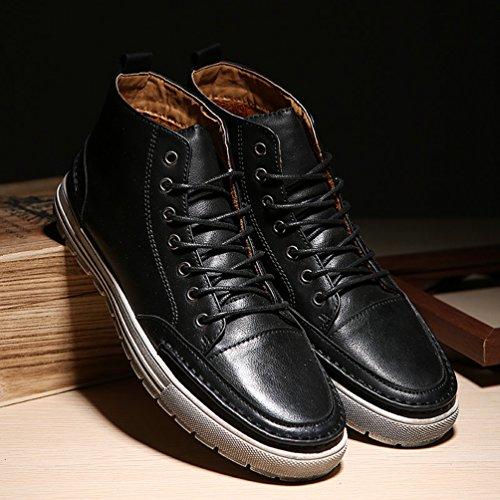 CHENGYANG Schneestiefel PU Leder Schuhe Schnürhalbschuhe Stiefel Winter Boots für Herren Schwarz