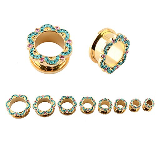 Gems Rimmed Screw Fit Flower Design Stainless Steel Gold Color Plated Ear Gauges Flesh Tunnel Plugs - Pink Color Plugs