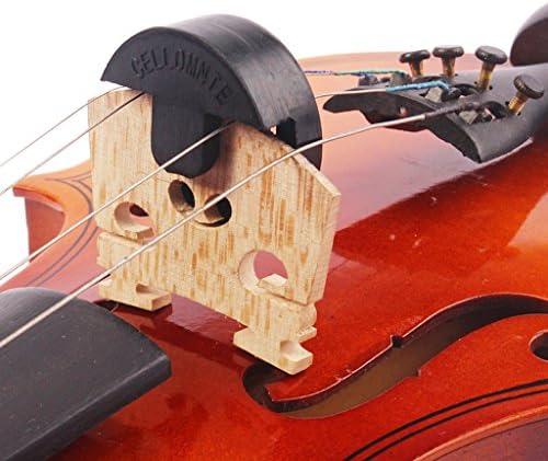 gazechimp Cello Accs 2穴タイプ用の簡単なインストールオーケストラブラックラウンドラバーミュート