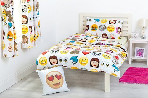 Ready Steady Bed Emoji Emoticons Design Children's Cot Bed Junior Toddler Size Duvet Cover Set 120cm x 150cm with Pillowcase