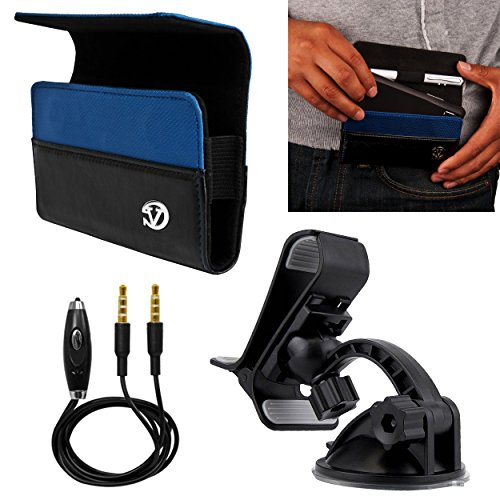 Vangoddy Blue Portola Holster Carrying Case For Blu Win Advance Armour Dash Life Neo Sport Star Studio Tank Vivo   Windshield Mount   Auxiliary Cable