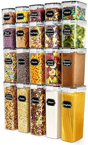 Food Storage Containers - Paincco Airtight Cereal Storage Containers Set of 20, Leak Proof & BPA Free Kitchen Pantry Organization for Flour and Baking Supplies