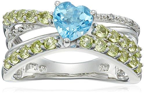 Cross Blue Topaz Peridot - Sterling Silver Swiss-Blue-Topaz Peridot and Diamond Accent Criss-Cross Ring, Size 6