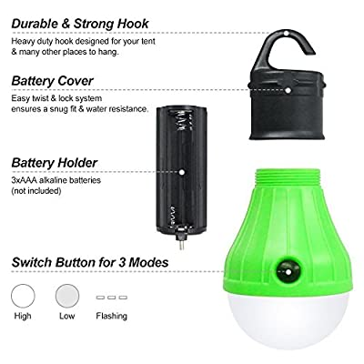 GEROWA LED Camping Lantern Portable Outdoor Tent Light Bulbs for Backpacking Hiking Fishing Emergency and Outdoor Adventures Emergency 4 Pack Battery Powered with 12 AAA Batteries