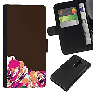 KLONGSHOP // Tirón de la caja Cartera de cuero con ranuras para tarjetas - Marrón Naranja minimalista - LG G2 D800 //