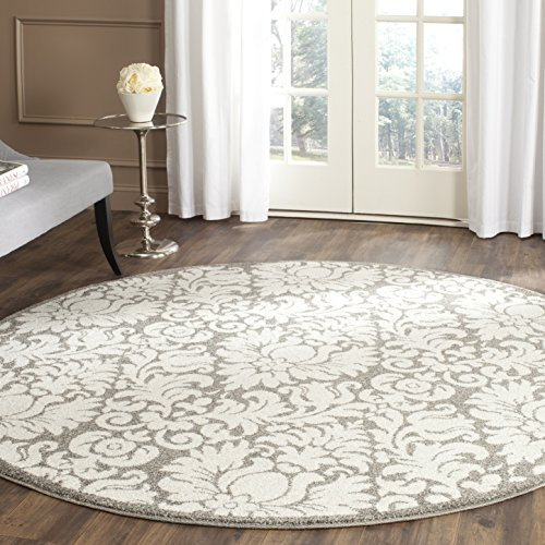 Safavieh Amherst Collection AMT427R Dark Grey and Beige Indoor/Outdoor Round Area Rug (9' Diameter)