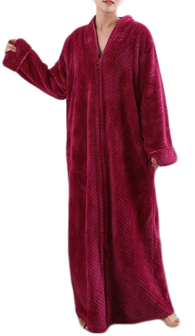 Cruiize Womens Plus Size Zipper Front Robe Fleece Flannel Long Bathrobe