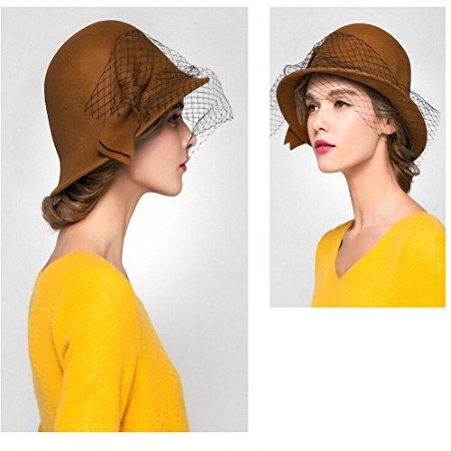 Maitose Trade; Women's Vintage Fedoras Wool Felt Veil Hat Orange by Maitose (Image #6)