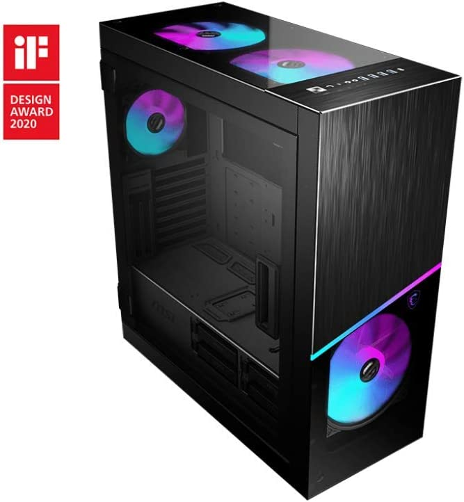 MSI Premium Mid-Tower PC Gaming Case – Tempered Glass Side Panel – RGB 120mm Fan – Liquid Cooling Support up to 360mm Radiator x 1 – Cable Management System – MPG SEKIRA 500X
