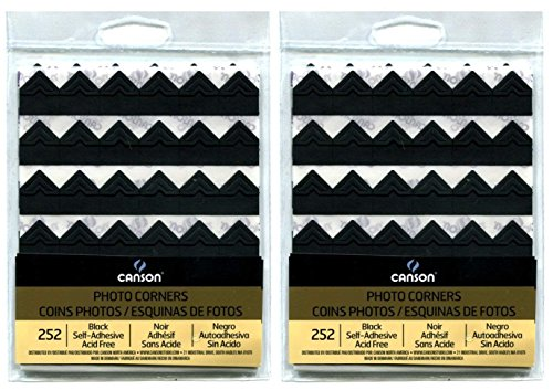 2-Pack Bundle - Canson Self Adhesive Photo Corners, Peel-Off Archival Quality, Black, 252 count each Pack by Canson