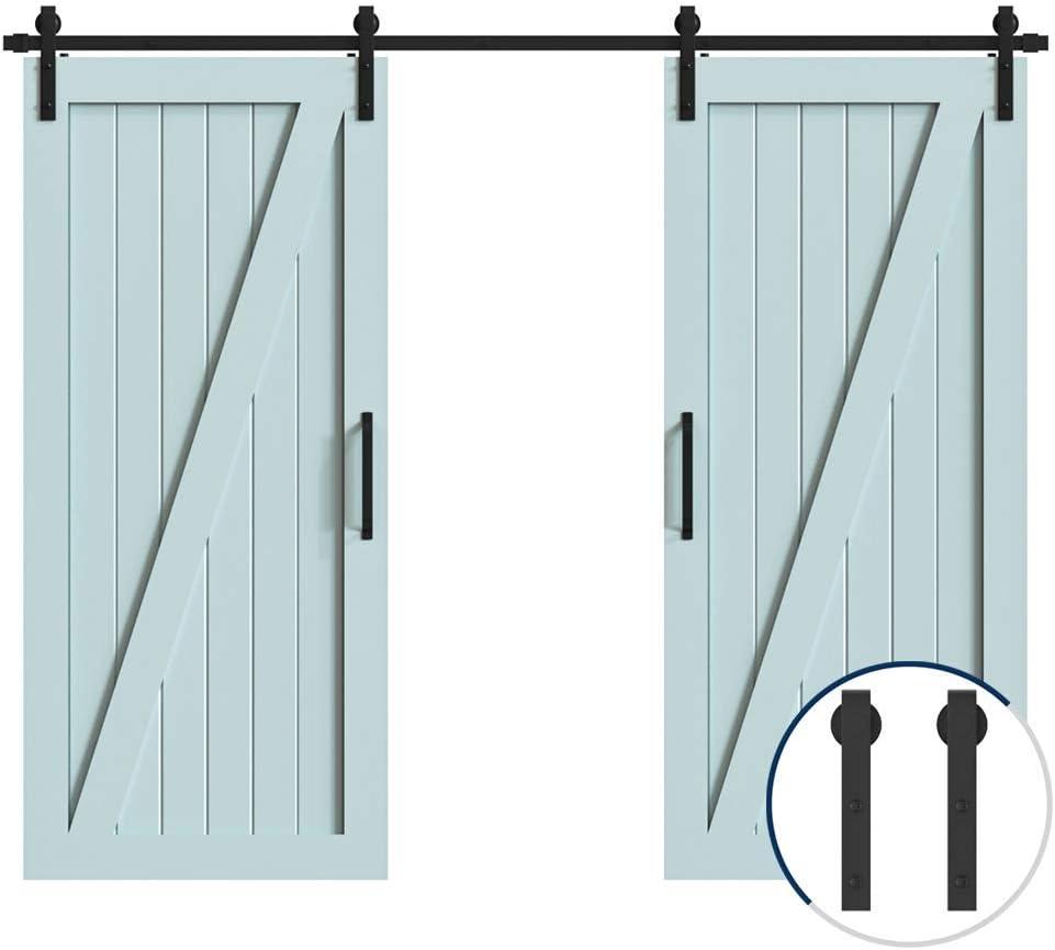 Hahaemall Antique Interior J-Shape Barn Door Hardware Sliding Double Wooden Door Cloest Steel Track Roller Hanging Kit 6FT