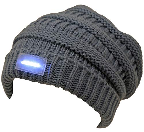 Funky Junque C.C Solid Ribbed Day/Night Reversible LED Flash Light Beanie Hat