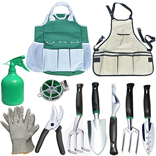 Auelife Garden Tools Set, 11 Pieces Rust Resistant Aluminum Alloy Gardening Kit with Non-Slip Handle -Durable Storage Tote Bag and Adjustable Canvas Gardening Apron-Garden Gifts for Men and Women by Auelife (Image #7)