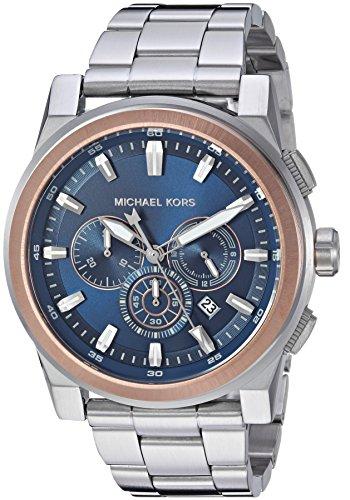 (Michael Kors Men's Grayson Analog-Quartz Watch with Stainless-Steel Strap, Silver, 24 (Model: MK8598))