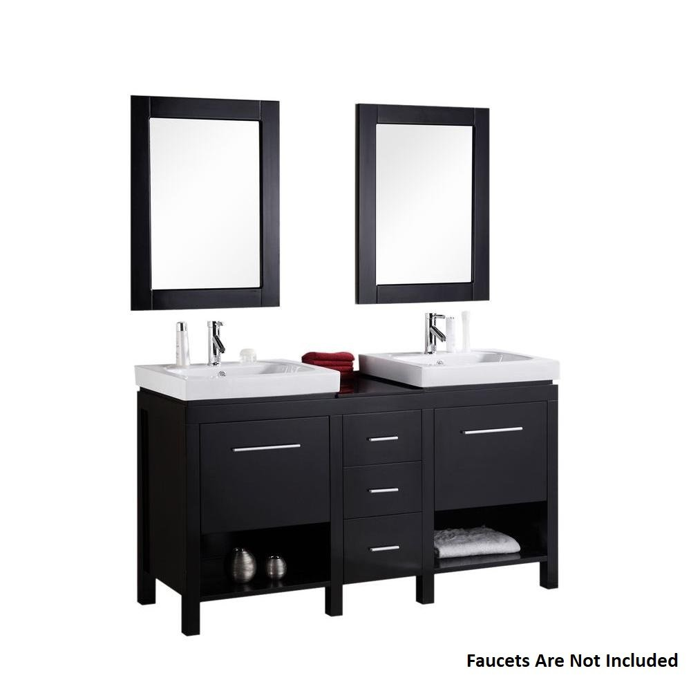 New York 60'' Double Sink Vanity Set in Espresso by Design Element
