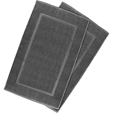 Utopia Towels 21-Inch-by-34-Inch Cotton Washable Bath Mat, 2 Pack, Smoke Gray