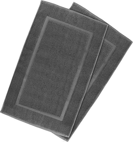 Utopia Towels 21 Inch By 34 Inch Cotton Washable Bath Mat, 2 Pack, Smoke  Gray