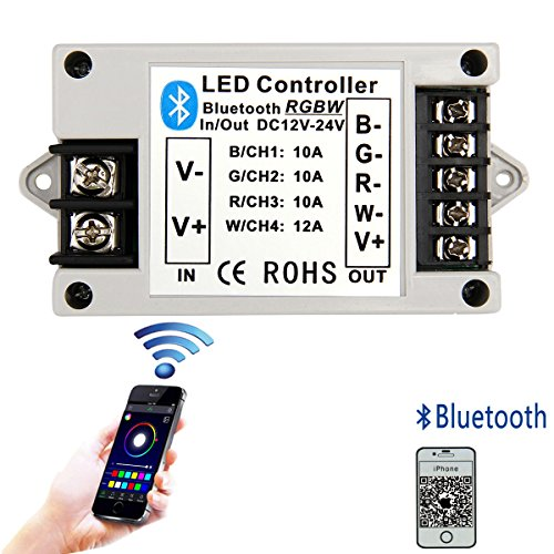 SUPERNIGHT 12V to 24V RGB and RGBW LED Light Strip Bluetooth Controller Working with Smart Phone App For 5m to 10m 5050 and 3528 LEDs -- Only Suitable For iPhone IOS Operating System (Bluetooth Light Controller)