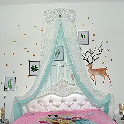 レースベッドキャノピー,皇太子妃 ダブル カラー ベッド カーテン 装飾的なドレープメタルクラウンと寝室のためのライトと裁判所の蚊帳-l
