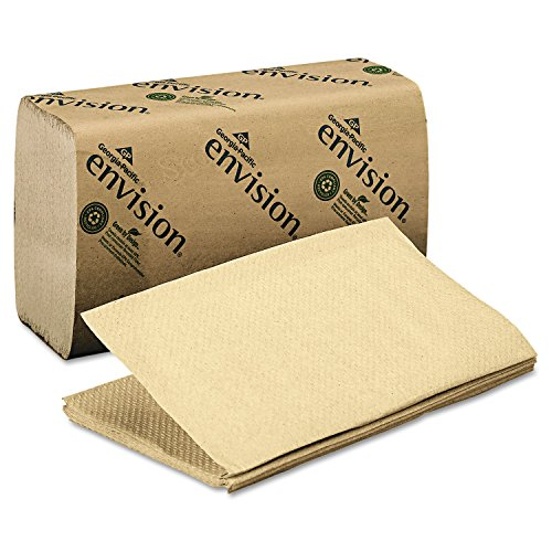 Georgia Pacific 23504 1 Fold Paper Towel, 10 1/4 x 9 1/4, Brown, 250/Pack, 16 Packs/Carton - Envision Single Fold Towel