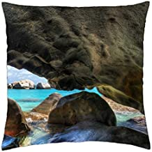 fantastic cavern on a rocky sea coast hdr - Throw Pillow Cover Case (18