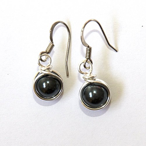 (Dark Charcoal Gray Simulated Pearl Wire Wrapped Dangle Earrings - Handmade Jewelry)