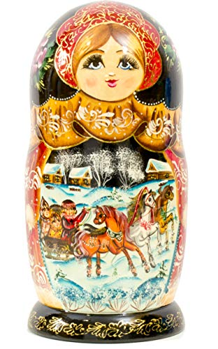 Nesting Doll - Russian Village - Hand Painted in Russia - Big Size - Wooden Decoration Gift Doll - Matryoshka Babushka (Design A, 8.25``(7 Dolls in 1)) by craftsfromrussia (Image #5)