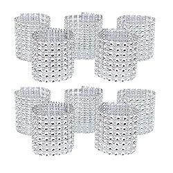 Napkin Silver rings With Rhinestone Mesh Bling