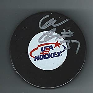 Clayton Keller Signed USA Hockey Puck Arizona Coyotes - Autographed Olympic Products