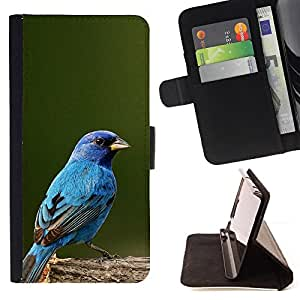 - Queen Pattern FOR Samsung Galaxy S4 Mini i9190 /La identificaci????n del cr????dito ranuras para tarjetas tir????n de la caja Cartera de cuero cubie - blue songbird blue spring