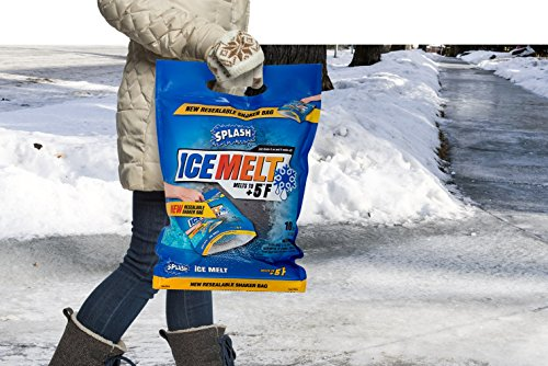 SPLASH ice melt resealable Shaker Bag, 10lb, Melts to +5F, Sodium Choloride, Snow & ice Salt, Concrete Safe, Good for driveways, Sidewalks, Decks/patios by SPLASH (Image #3)