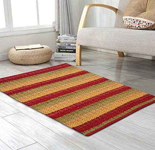 Cotton Rag Rugs 2×3 – Red Combo in Diamond Weave Stripe,Cotton Area Rugs,Indoor Out Door Rugs 2 x3 ,Rugs for Living Room, Machine Washable Rugs,Hand Woven Kitchen Entryway Rug,Farmhouse Rug.