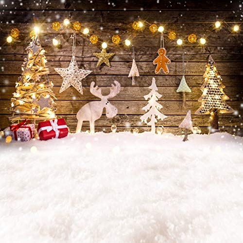- Leyiyi 5x5ft Photography Backgroud Merry Christmas Backdrop Happy New Year Rustic Xmas Vintage Cabin Bulb Snowman Elk Reindeer Gifts Magic Star Pine Tree Lay Flat Photo Portrait Vinyl Studio Prop