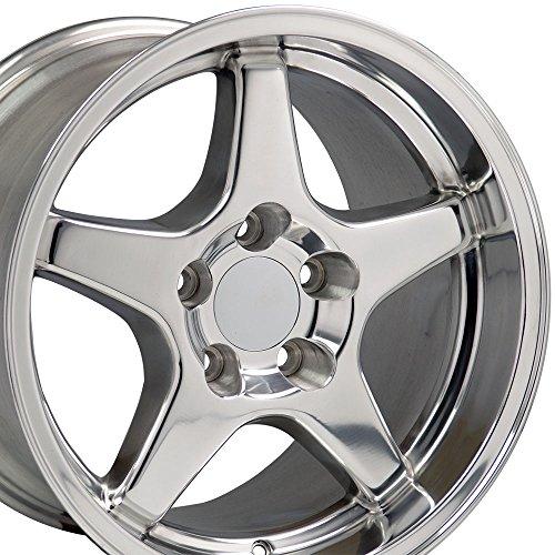 (OE Wheels 17 Inch Fit Corvette Camaro CV01 ZR1 Polished 17x11/17x9.5 Staggered Rims SET )