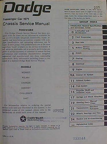 dodge passenger car 1971 chassis service manual monaco polara rh amazon com 1974 Challenger 1971 Camaro