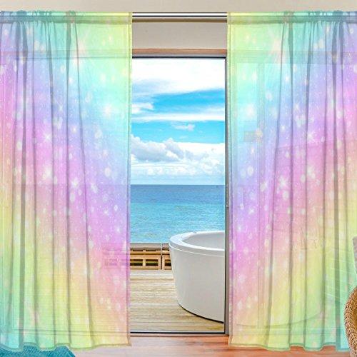 Vantaso Sheer Curtains 78 inch Long Galaxy Fantasy Rainbow for Kids Girls Bedroom Living Room Window Decorative 2 Panels by Vantaso