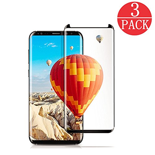 [3-Pack] Samsung Galaxy S8 Screen Protector , Linboll [No Bubble][Case-Friendly][3D coverage] PET HD Screen Protector Film for Samsung Galaxy S8 - Alcantara Black