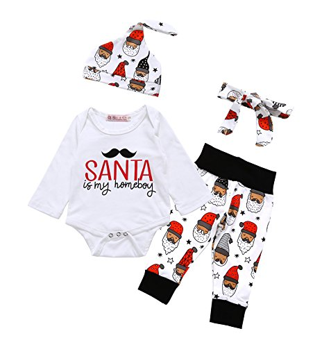 Baby Boys Girls Christmas Long Sleeve Rompers Bodysuit and Santa Claus Pants Outfit Set(3-6 Months)