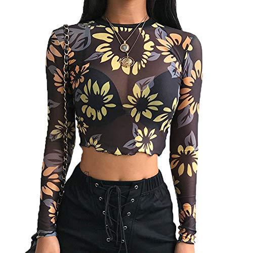 Womens Sexy Black Shirt Long Sleeve Angel Print Mesh Top Sheer See Through Blouse Crop Tops for Women (S, Yellow Flowers)