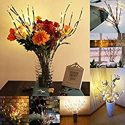 "GIAGY 30.3"" 20 Led Branches Battery Powered Decorative Lights Tall Vase Filler Willow Twig Lighted Branch String Lights for Christmas,Party,New Year,Home Décor 2 Pack"