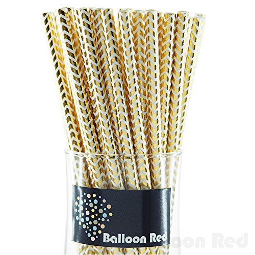 Biodegradable Paper Drinking Straws (Premium Quality), Pack of 50, Chervon - Metallic Glossy Gold