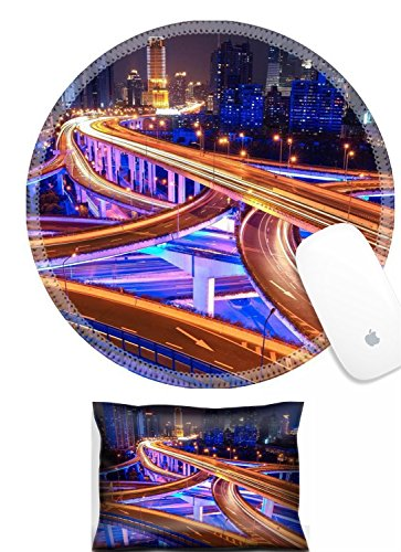 Luxlady Mouse Wrist Rest and Round Mousepad Set, 2pct IMAGE: 21297757 colorful city interchange overpass at night in shanghai China ()