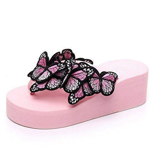 Brodées Romaines CHENGXIAOXUAN Talon Tongs épais Chaussures H Et à Chaussures Stylées Femme Pantoufles Antidérapantes Décontractées de de Plage Papillons Sandales Été pour Avec Pantoufles Fond 4xBYr4q