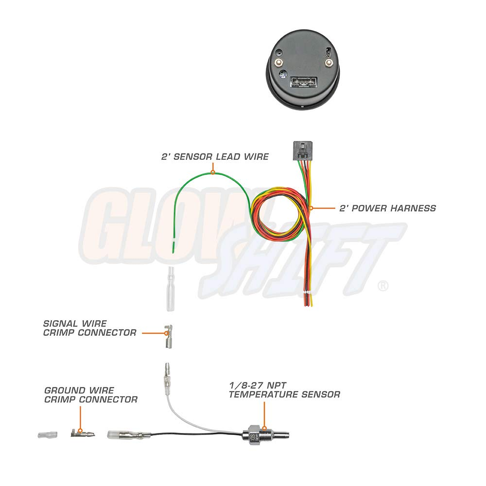 glowshift tinted 7 color 300 f water coolant temperature gauge kit includes electronic sensor black dial smoked lens for car \u0026 truck 2 1 16\