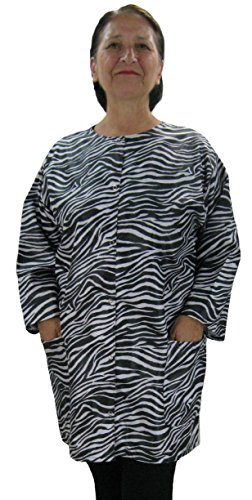 Price comparison product image Plus Size Zebra Print Hair Stylist Smock Dog Groomers Jacket for Women