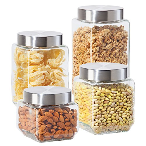 Oggi 4 Piece Square Glass Canister Set With Stainless Steel Screw On Lids,  Clear